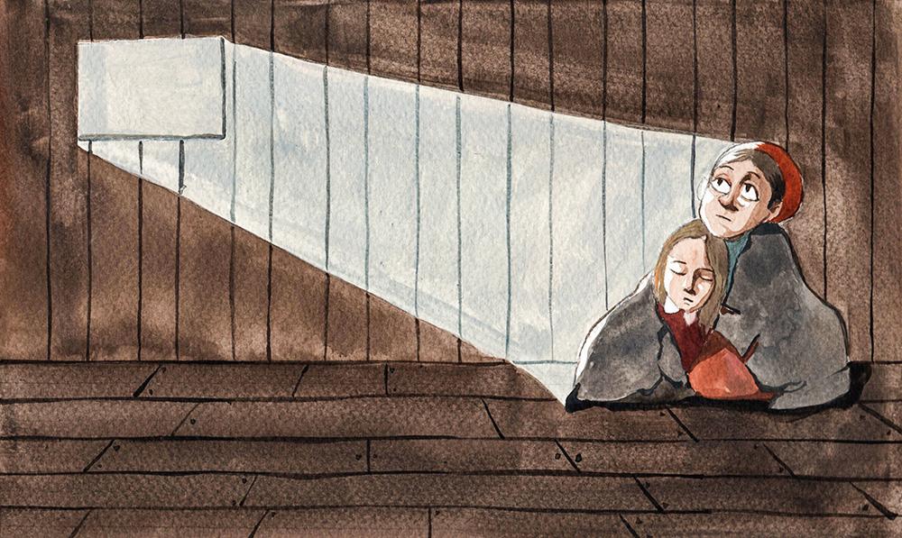 desenho de duas pessoas sendo iluminadas por um feixe de luz