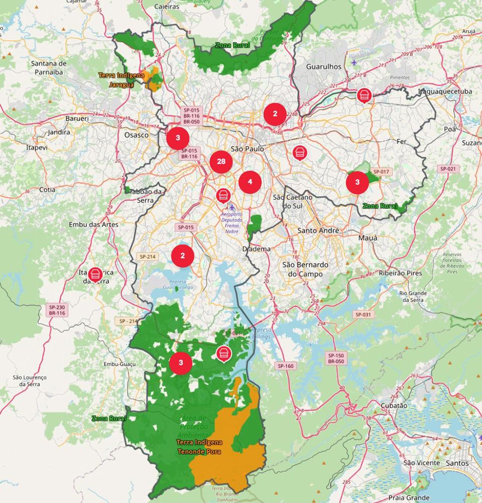 A plataforma Sampa+Rural: traz informações como os cinquenta estabelecimentos que compram insumos de produtores locais