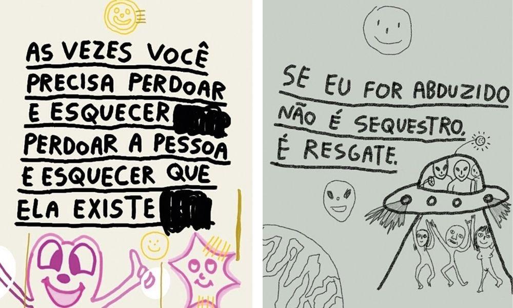 Duas ilustrações: na primeira está escrito