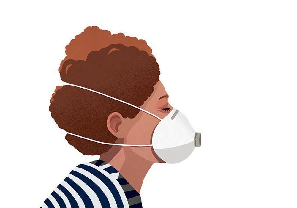 Máscaras descartáveis: especialistas recomendam o uso do modelo cirúrgico PFF2, ou N95, de estrutura mais rígida, que veda o rosto e costuma ser presa por tiras de elástico na nuca e no pescoço, não nas orelhas.
