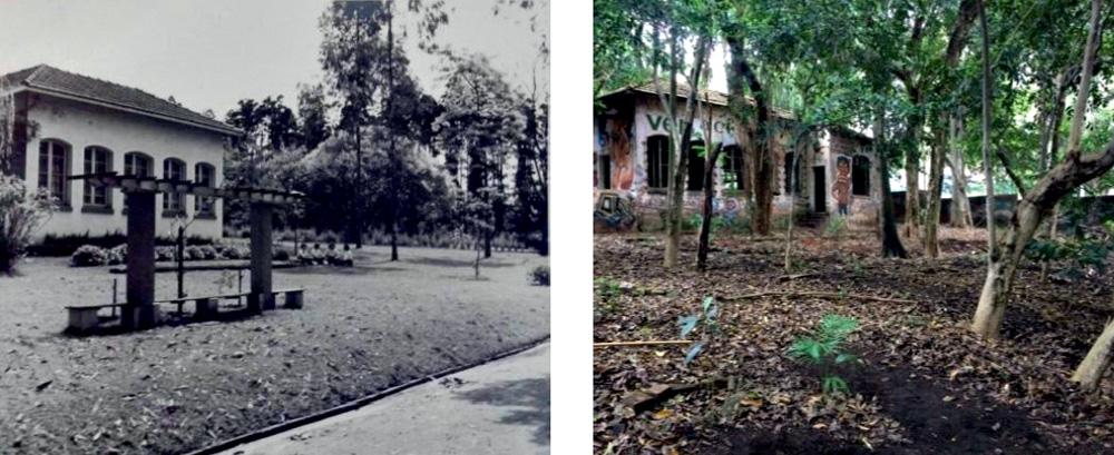 Casa das Araras, no séculos XIX, em preto e branco, e a mesma casa depredada à direita