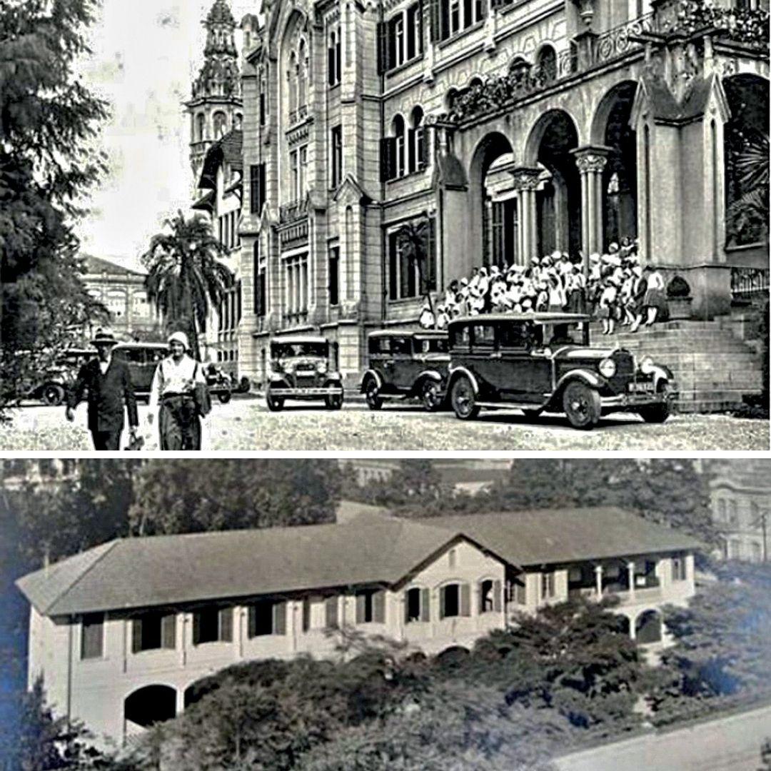 Fachadas dos colégios Des Oiseaux (no alto) e Santa Mônica. Ambas as fotos em preto e branco