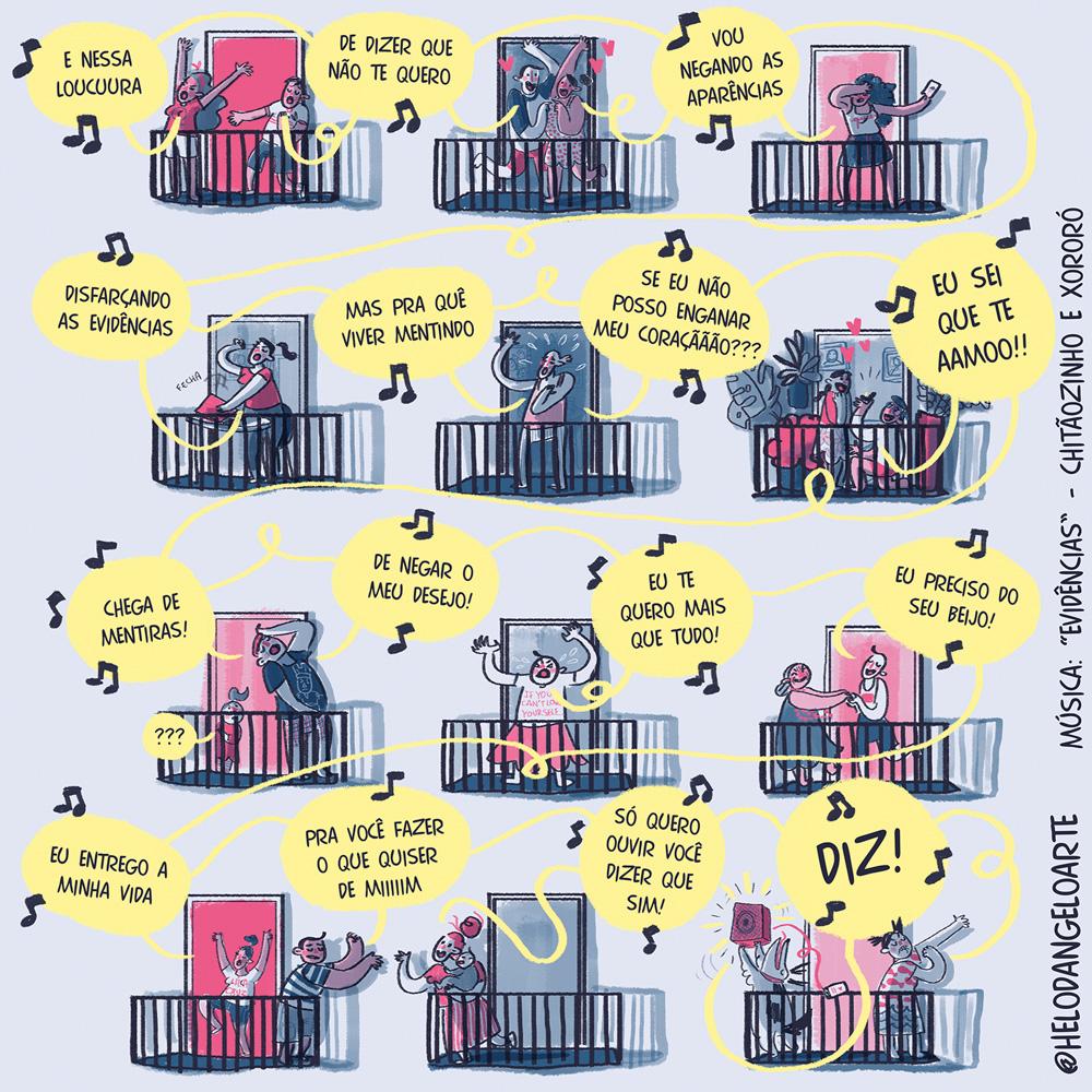 Ilustração: várias sacadas de um prédio, com os vizinhos cantando a música evidência. Cada balãozinho é uma frase da canção