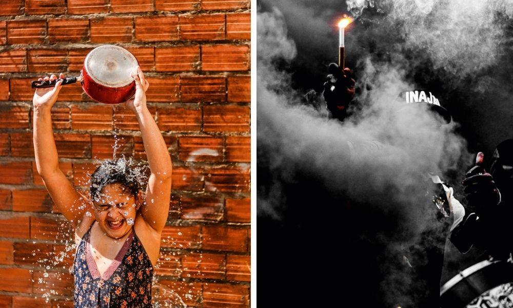 Isabella, filha de Juh, jogando água em si mesmo com uma panela, tendo ao fundo uma parede de tijolos descobertos; ao lado direito, torcedor do G.R Inajar de Souza, no meio do escuro, com um sinalizador e muita fumaça