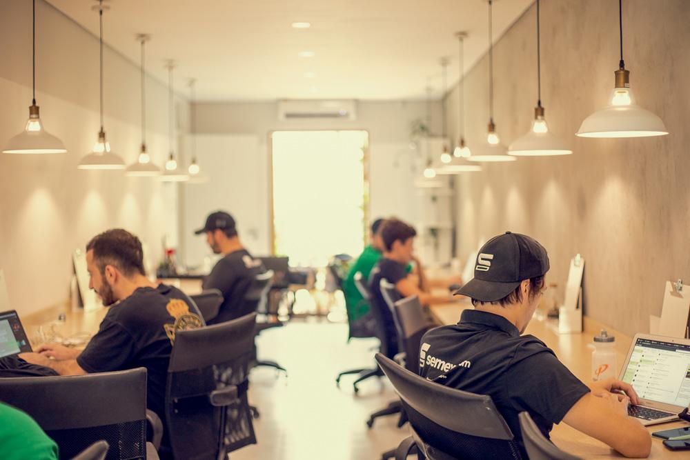 consultores sentados em uma sala olhando seus computadores