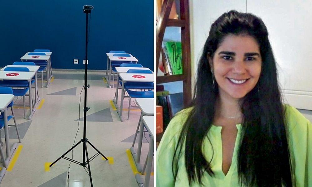 À esquerda, sala de aula do colégio pentágono vazia; à direita, Camila sorrindo para a foto