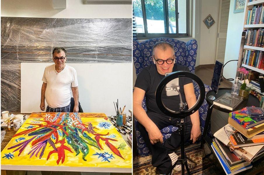 walcyr com suas pinturas e suas lives