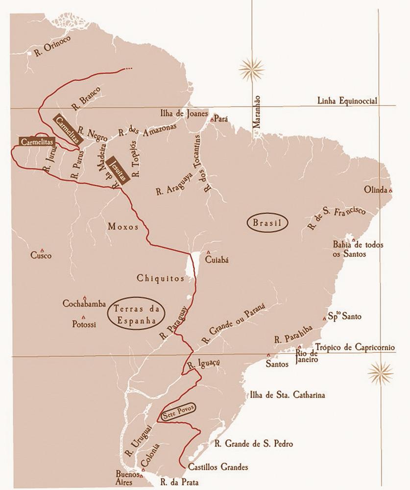 mapa das cortes, com traçado proposto para a fronteira brasileira