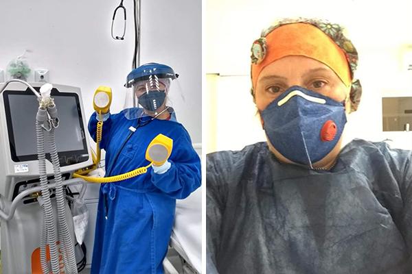 Montagem mostra duas enfermeiras com máscara