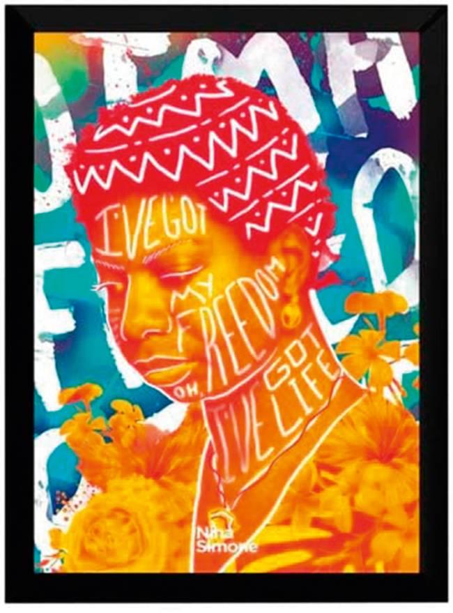 Quadro de Nina Simone colorido