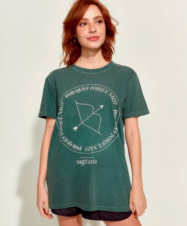 T-shirt mindset verde-escura Sagitário