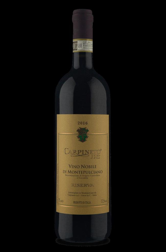 garrafa do vinho tinto italiano Carpineto Riserva D.O.C.G. Vino Nobile di Montepulciano. Garrafa preta com rótulo bege com as descrições do vinho e brasão da vinícola na porção superior