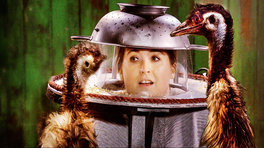 Uma mulher vestida com equipamentos de cozinha na cabeça encara duas aves