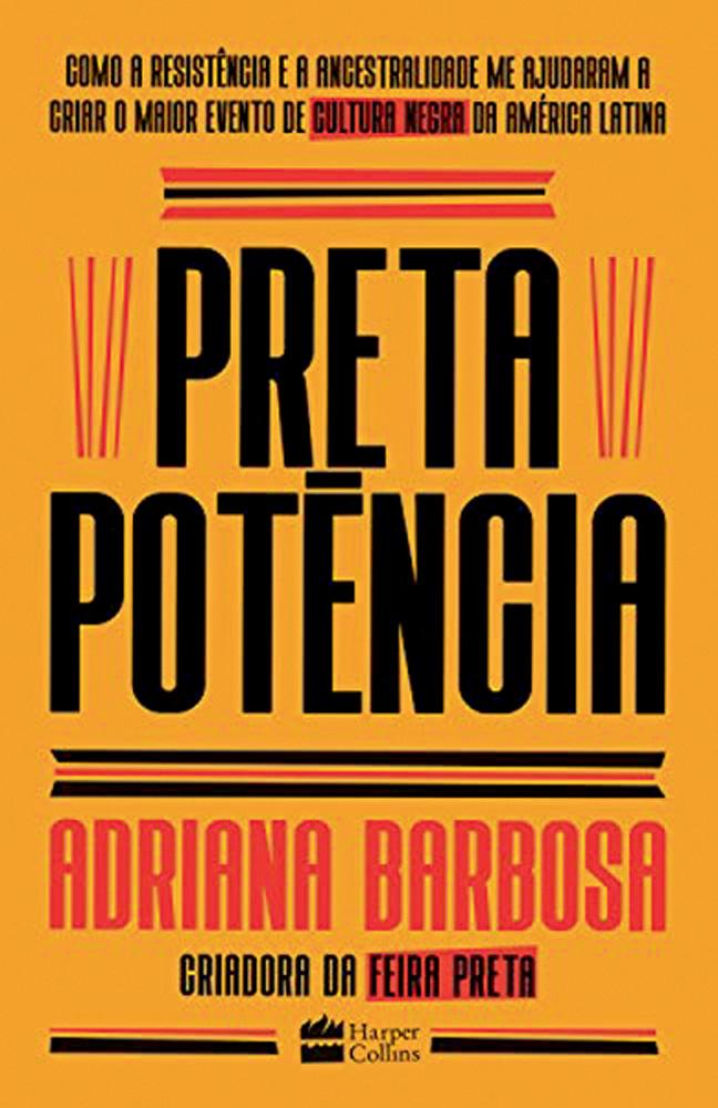 Capa do livro Preta Potência, amarela, preta e vermelha