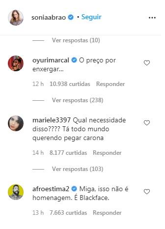 Comentários na postagem de Sonia Abrão. O primeiro diz