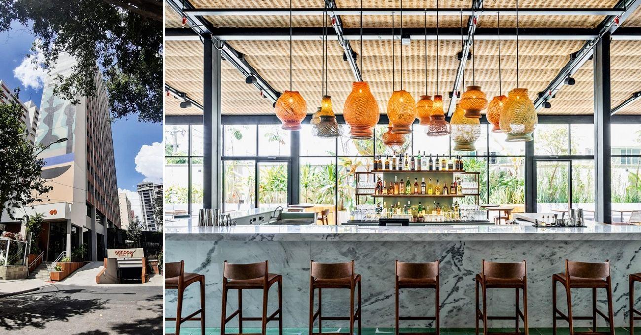 Fachada e bar do Canopy, inaugurado em fevereiro