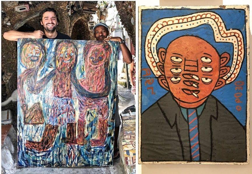 Edmar com o artista Estevão Silva (à esq.) e pintura de Antônio Roseno (à dir.): coleção e pesquisa