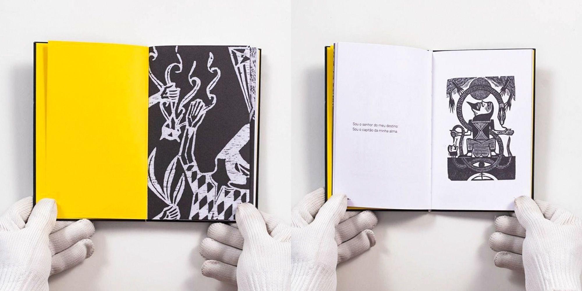 livro com poema invictus aberto