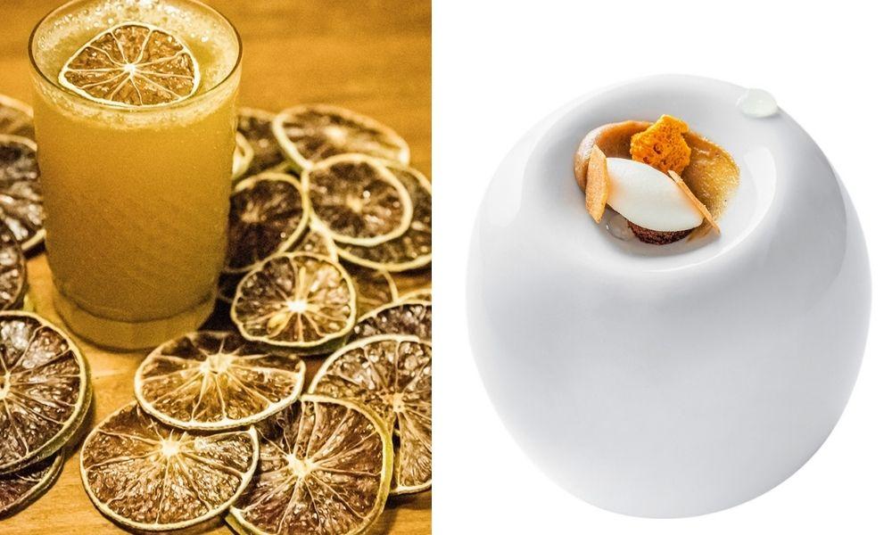 À esquerda, o drinque amarelado com rodelas de limão espalhadas em volta do copo. À direita, o pão de mel do Evva em um fundo branco