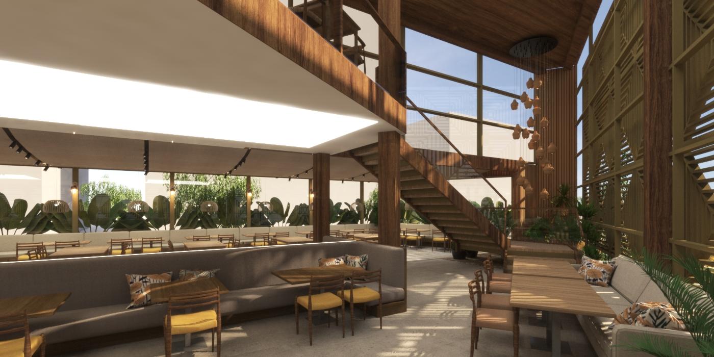 Projeto 3D do salão do restaurante Camarões