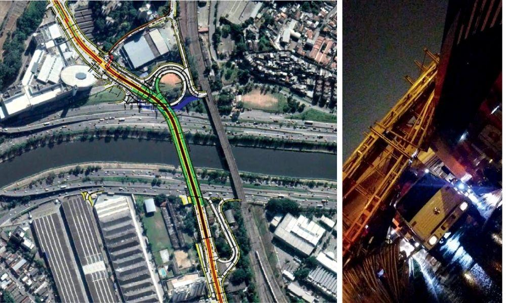À esquerda, visão de satélite com a demarcação do lugar onde seria construído a ponte; à direita, passarela sobre o caminhão, na queda de 2019