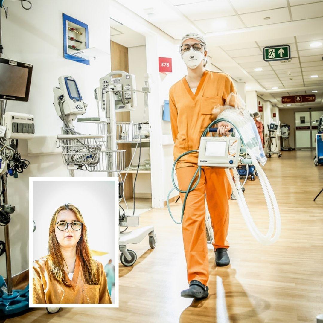 Talita andando por um corredor de hospital, equipada. No canto inferior esquerdo, uma foto 3x4 sua