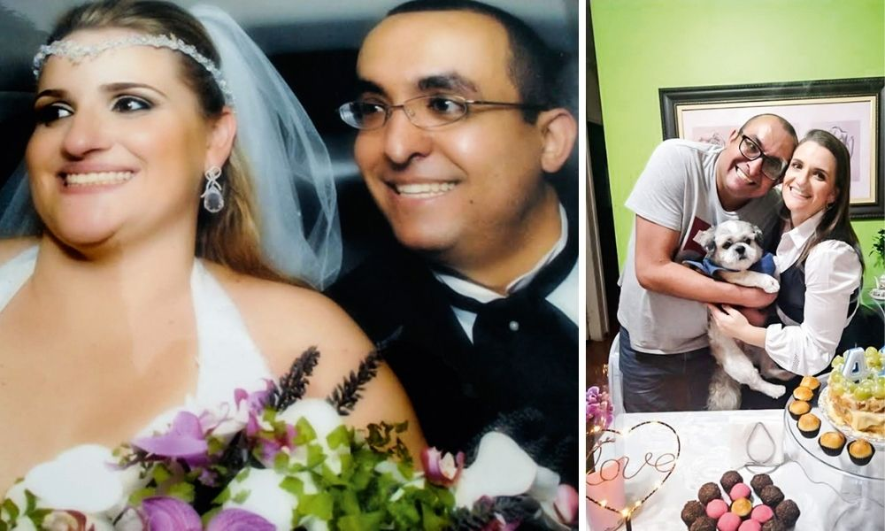 Na imagem esquerda, Erica está com um véu de casamento, um buquê de flores e do lado está Vitor, vestido de terno, uma imagem do dorso para cima dos dois, ambos sorrindo. À direita, Erika e Vitor estão sorrindo em uma sala de estar, com Vitor segurando um cachorro no colo. Na mesa na frente dos dois, há um bolo com velas no formato de 4 e 1.