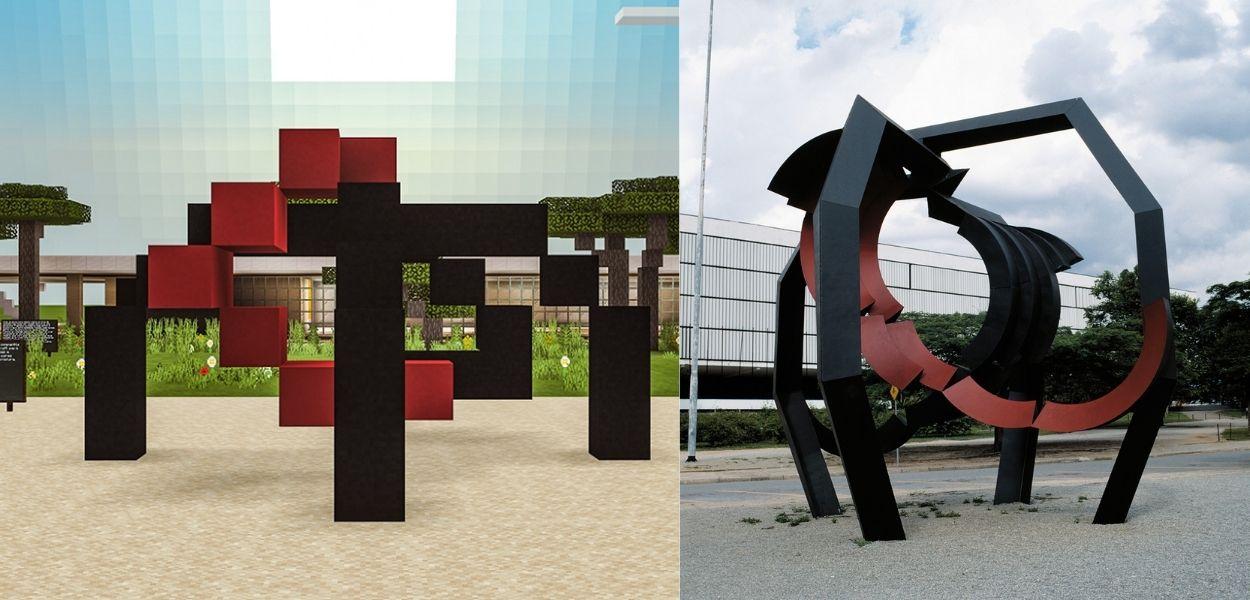 escultura Aranha, de Emanoel Araújo, no jogo minecraft (à esq.) e ao vivo