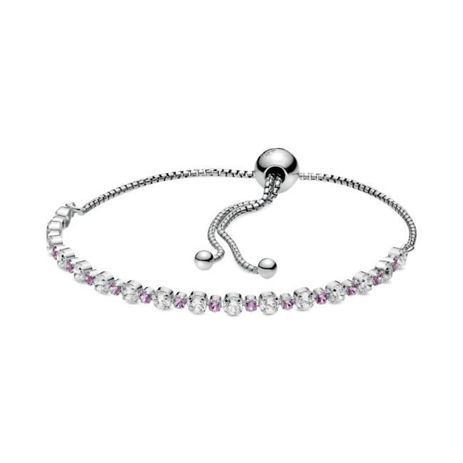 Bracelete prata com detalhes em pedras rosas