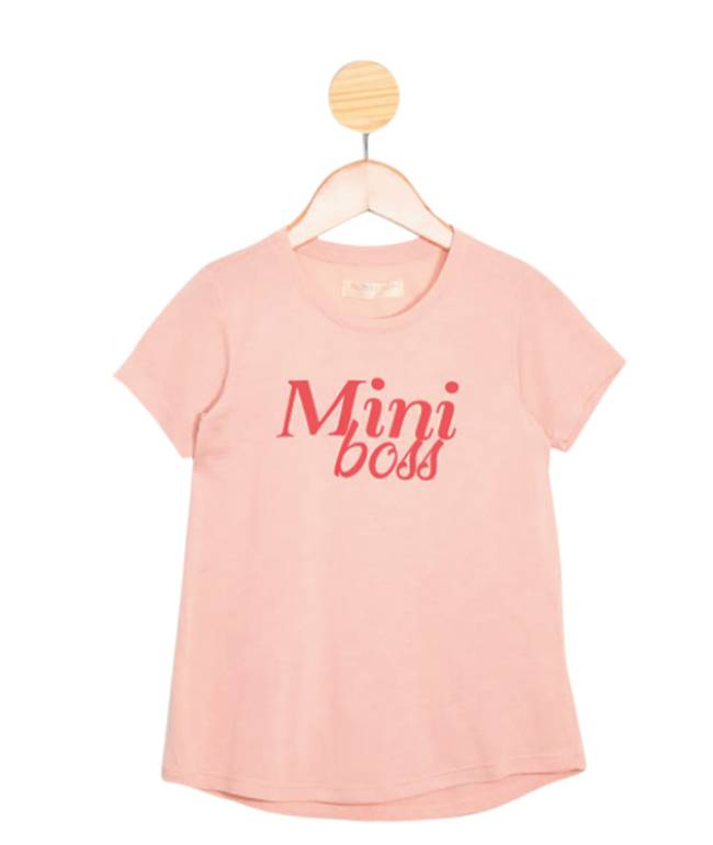 Blusa infantil rosa claro com o escrito