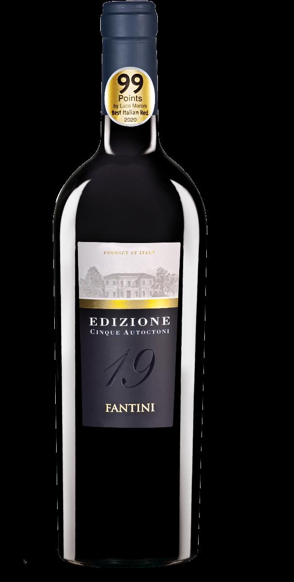 garrafa do vinho tinto Edizione Cinque Autoctoni. Garrafa preta com rótulo com foto preto e branco da vinícola produtora sobre linha dourada
