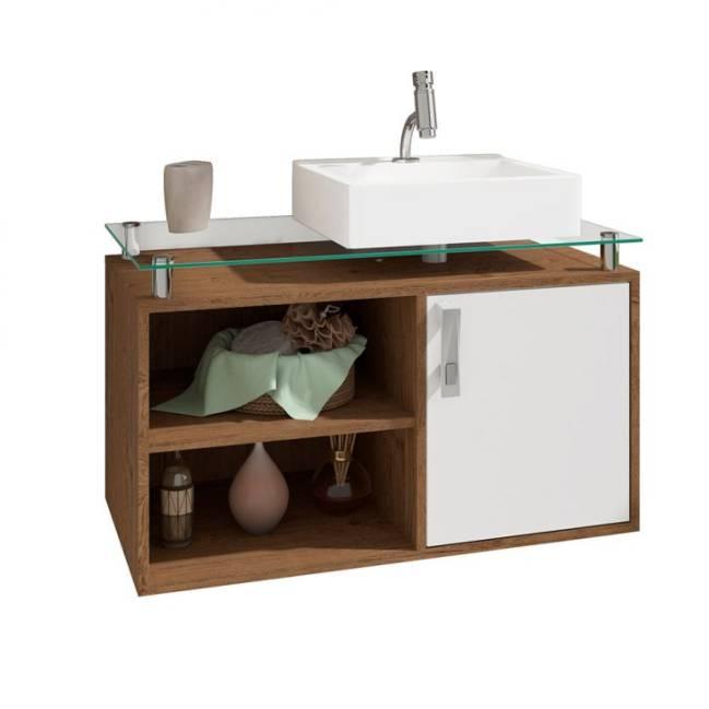 Gabinete de Banheiro Braga na cor Amêndoa e Branco da Mobly