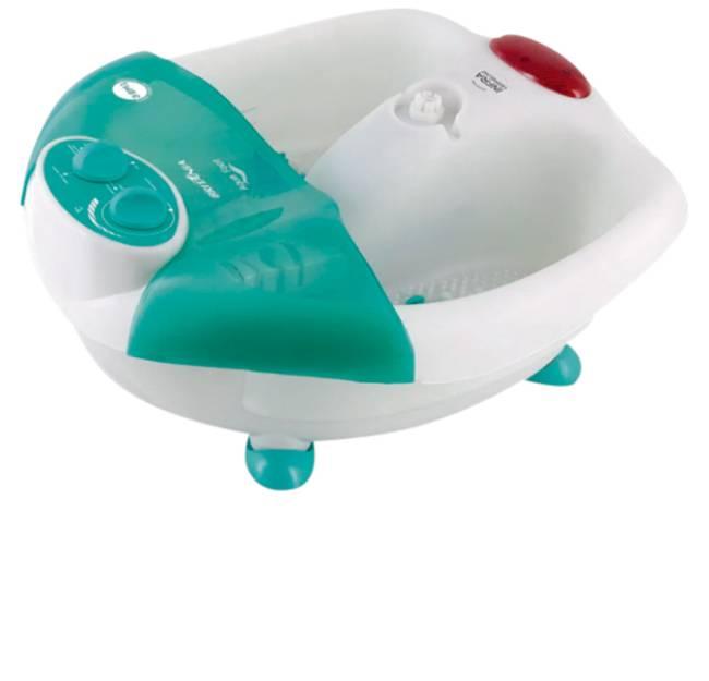 Hidromassageador nas cores branca e verde-água. Há um espaço para encaixe dos pés