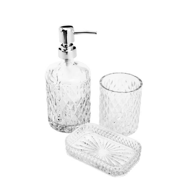 Jogo de Banheiro de Vidro 3 Peças com saboneteira líquida e em barra e porta escova de dentes