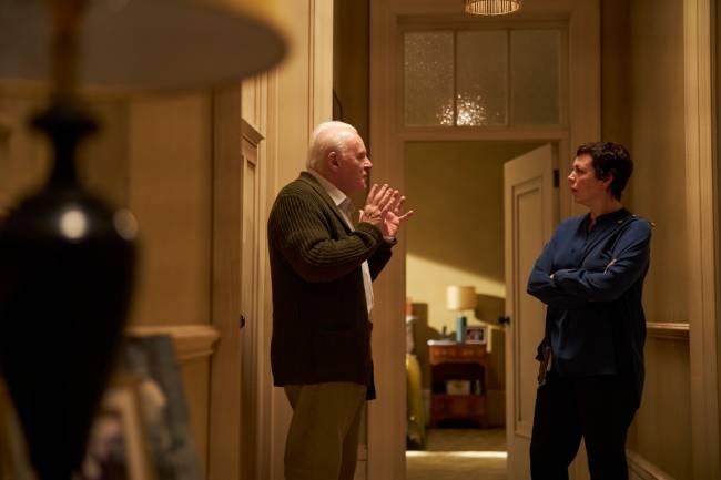 Os atores Anthony Hopkins e Olivia Colman em Meu Pai