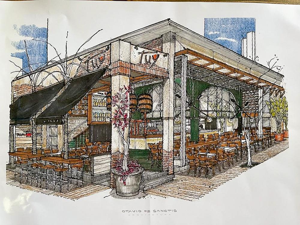 Planta do projeto do Tuy Bar, Cocina dos Jardins