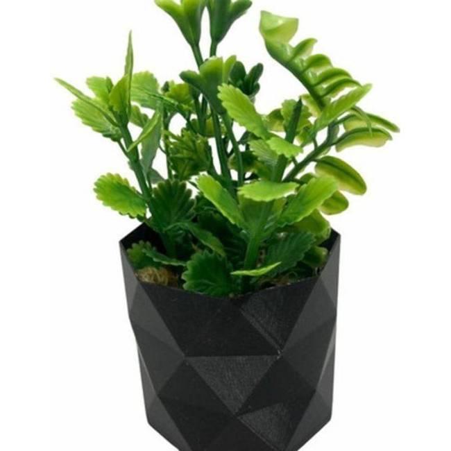 Planta suculenta artificial verde em vasinho preto