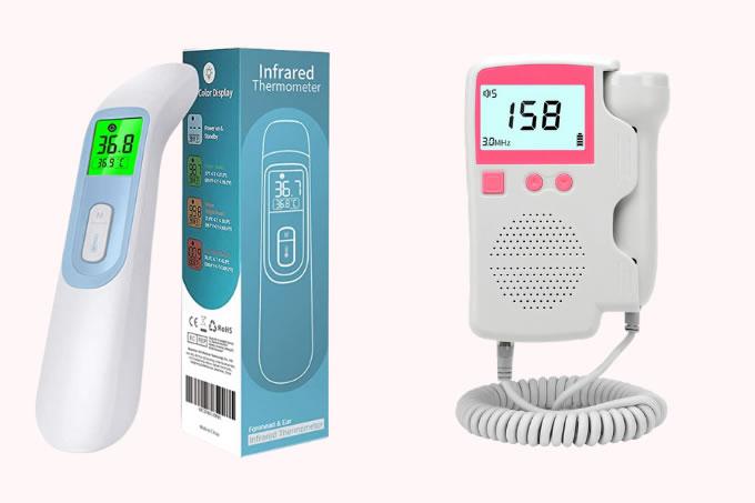 Termômetro digital e monitor de frequência cardíaca num fundo rosa claro.