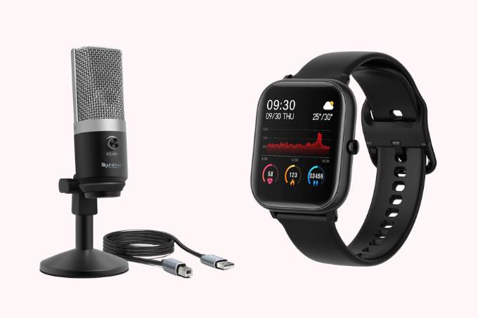 Microfone USB com condensador, Fifine e Smartwatch para Android à prova d'água, SQR P8 SE sobre um fundo rosa claro.