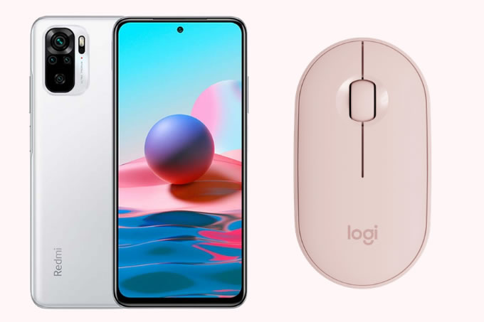 Smartphone Xiaomi Redmi Note 10 e Mouse mini sem fio, Logitech M350.