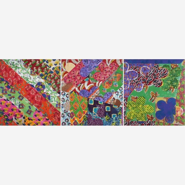 Triptico, estrutura divididada em três telas, da série Margaridas (1981), de Beatriz Milhazes, feita com acrílico e bordado: um dos destaques do leilão da Bolsa de Arte