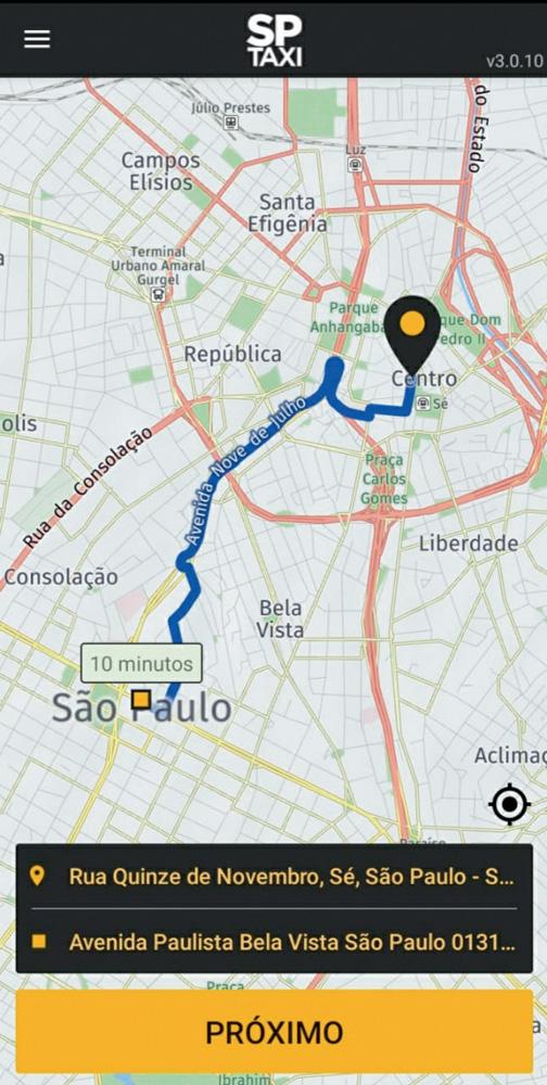 imagem do aplicativo, com uma rota traçada entre dois endereços