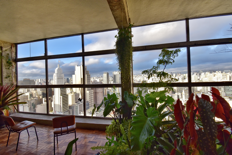 Imagem mostra sala com vista para o centro da cidade com plantas e cadeira no centro