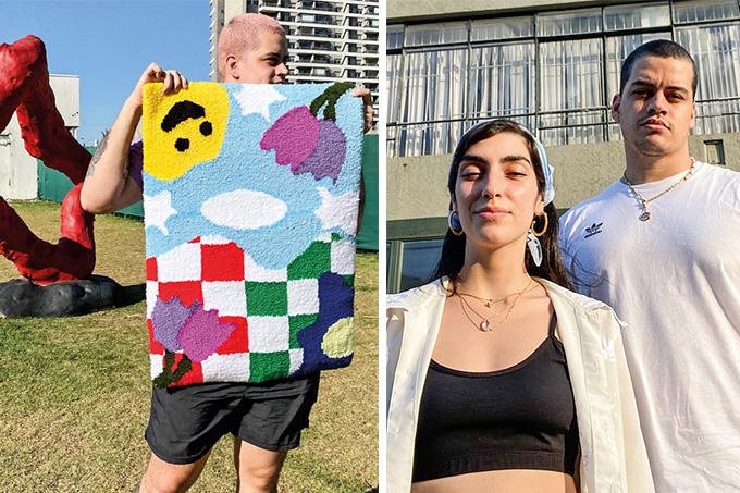 Montagem com duas imagens. A primeira é Um menino, em céu aberto na grama, segura uma peça de tapeçaria que contém flores, um emoji feliz, nuvens e céu. A segunda é um casal jovem, formado por um homem e uma mulher.