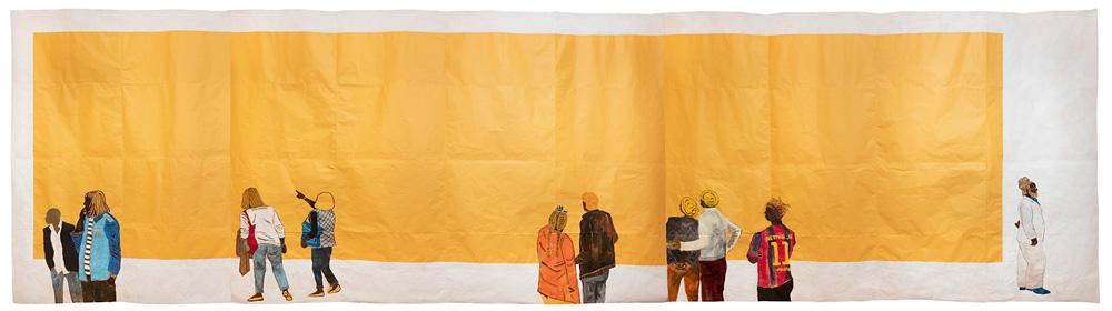 Há uma grande faixa dourada. Desenhos de pessoas negras de costas apontam ou olham para essa faixa