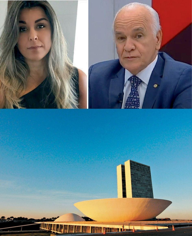 imagem dividida em três, na parte inferior, imagem do congresso nacional ao amanhecer, acima, imagem dividida com Alessandra Crusco à esquerda e Gilberto Nascimento à direita