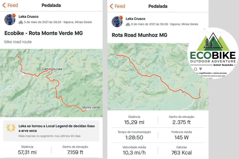 à esquerda, dois prints de trajetos feitos por Alessadra de bike, no detalhe, à direita, o logo do hotel para qual ela trabalhava