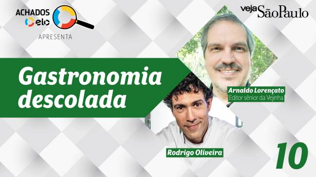 Card do podcast Gastronomia Descolada com fotos do apresentador, Arnaldo Lorençato, e da entrevistado, Rodrigo Mocotó.