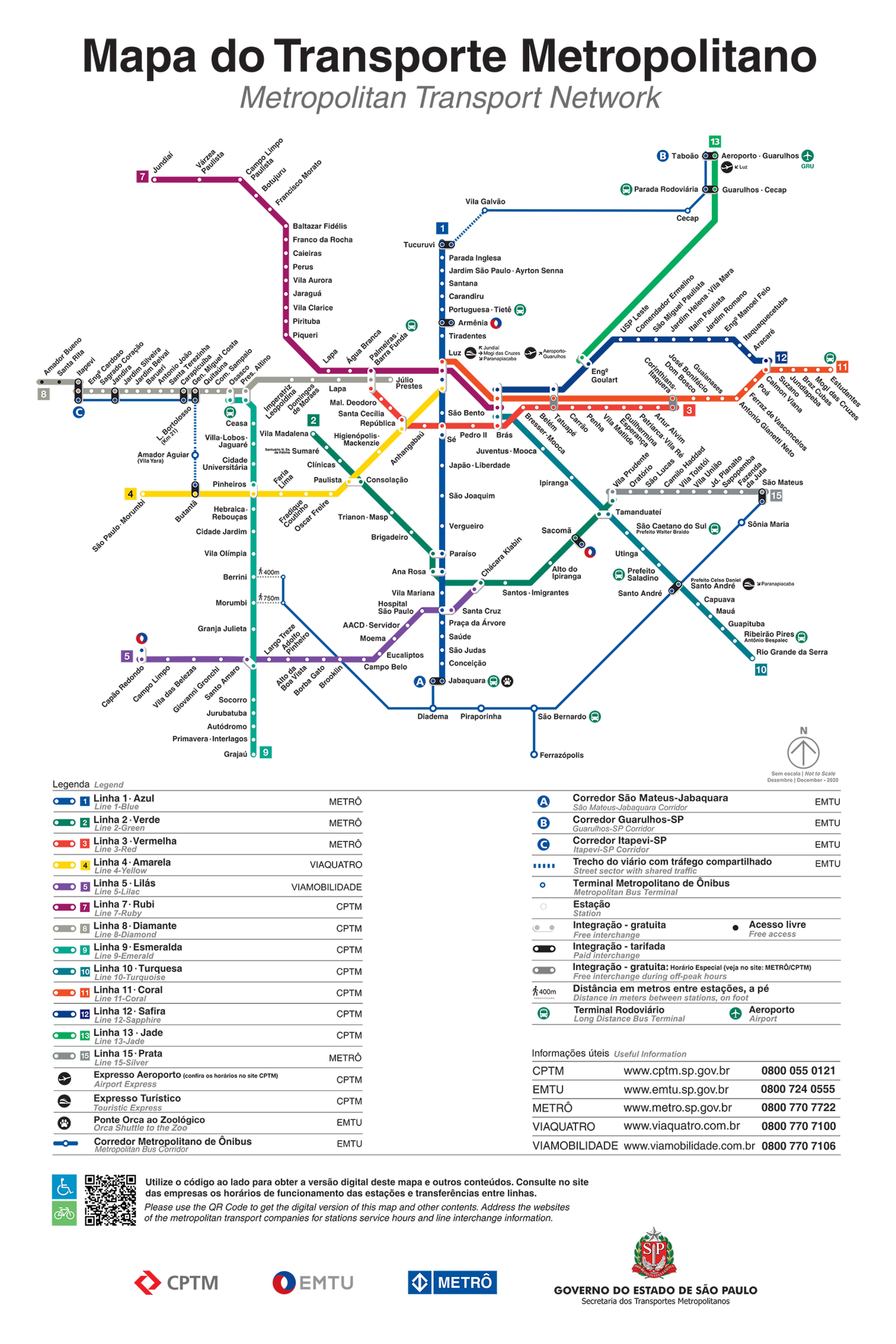 Mapa do Transporte Metropolitano mostra linhas do Metrô e da CPTM