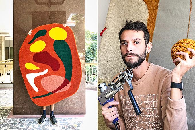 Montagem com duas fotos. A primeira mostra Pessoa estende um tapete na sua frente. Peça é vermelha e abstrata com formas verde, amarela, branca e tons de rosa. A segunda imagem é Homem moreno segura uma pistola de tufting (tapeçaria) com uma bola de tricô.